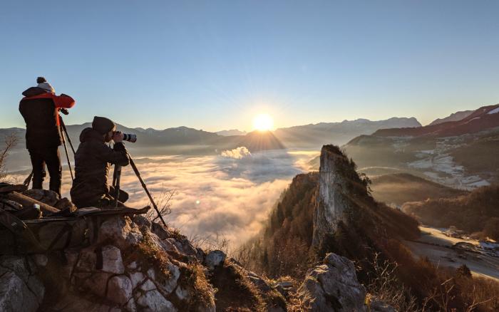 Fotografen bei Sonenaufgang