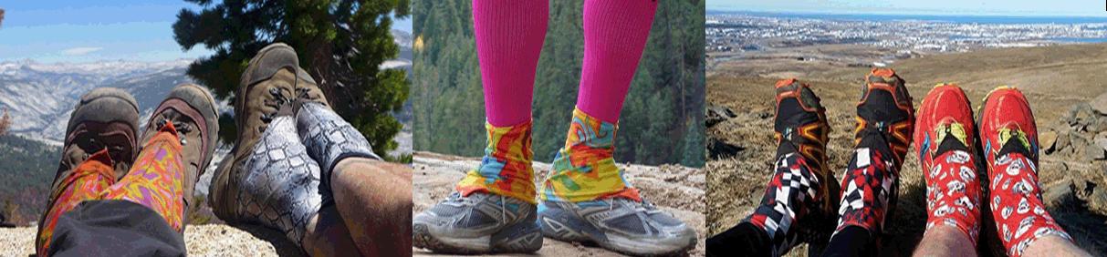 Collage aus drei Bildern, die alle Füße in Wanderschuhen zeigen. Natürlich mit quietschbunten Dirty Girl Gaiters. Im Hintergrund sind wahlweise Berge, Wald oder eine Küstenlandschaft