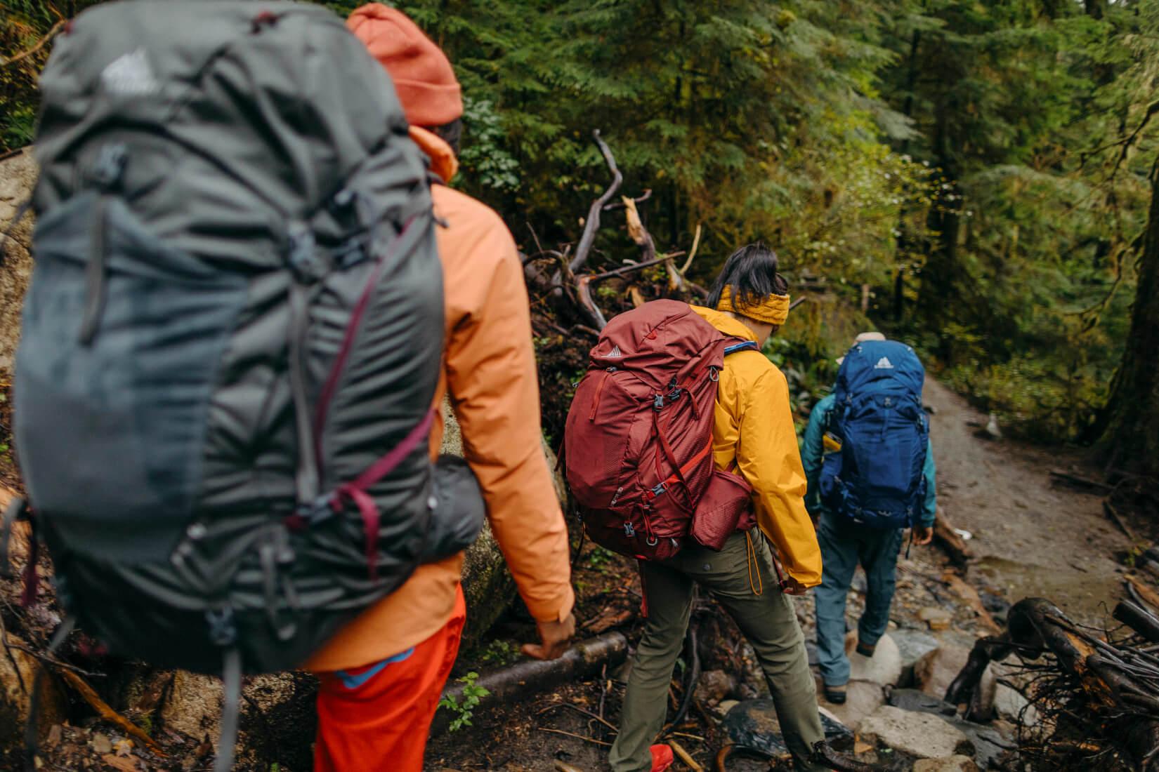 Drei Personen mit Gregory-Rucksäcken auf einem Wanderweg im Wald. Es regnet